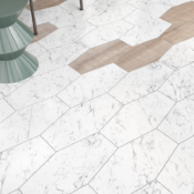 Porcelain Elongated Hex 9x19 in Calacatta Oro, Black or White