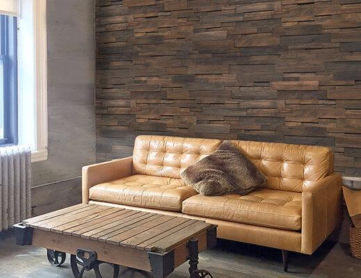ashley scott - Reclaimed Wood Dark Living room Realstone - LIVING ROOM